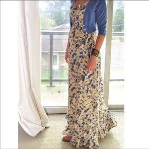 {Anthro} hydrangea petals maxi silk dress